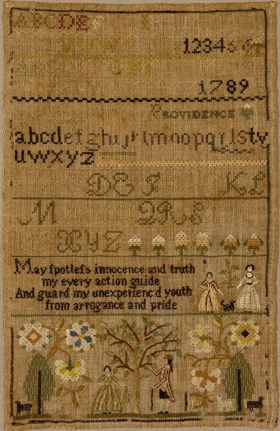 Antique sampler by Caty Field, Balch School