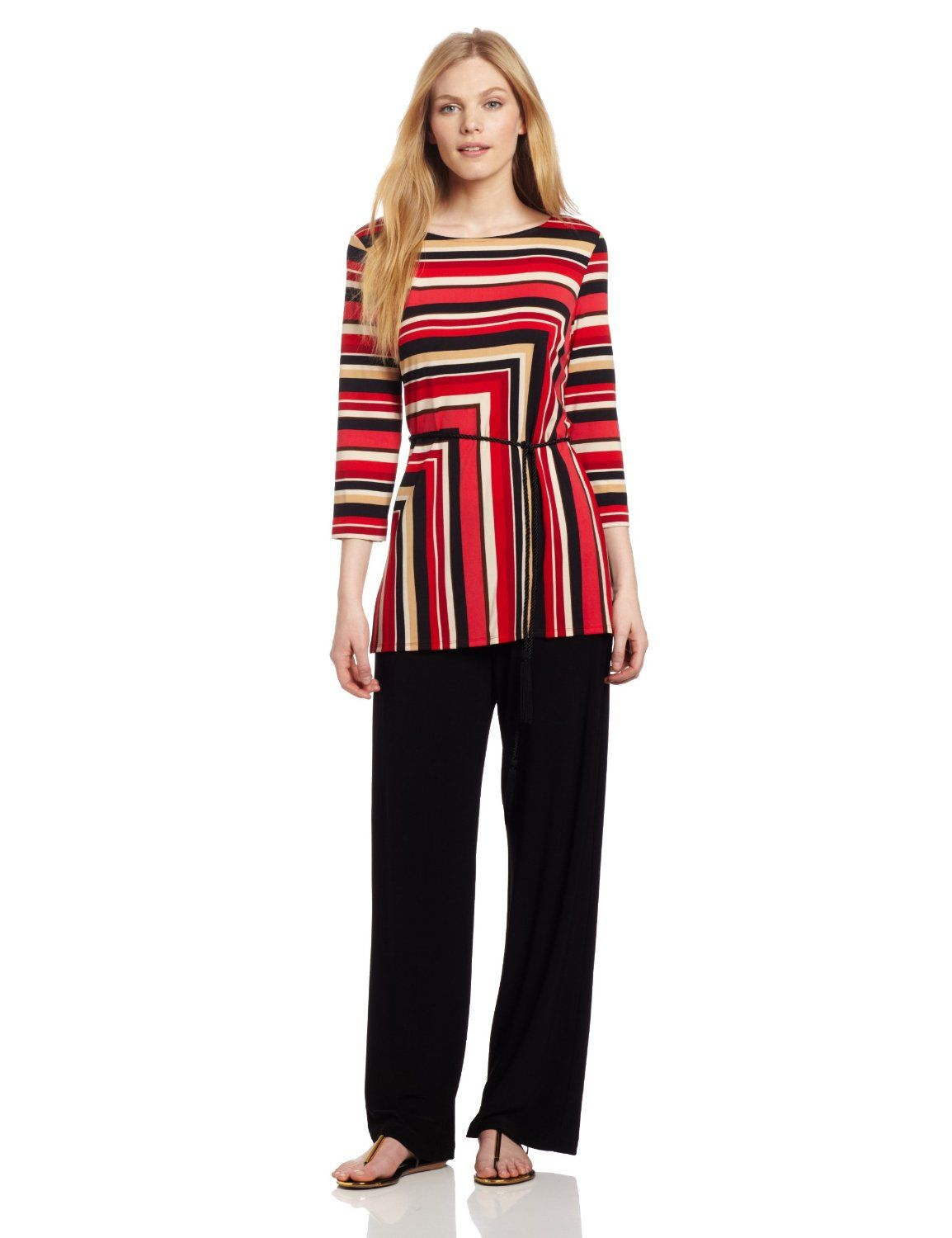 Danny & Nicole Women's Jersey Tunic Top And Pant Set, Red/Black, 8 Missy