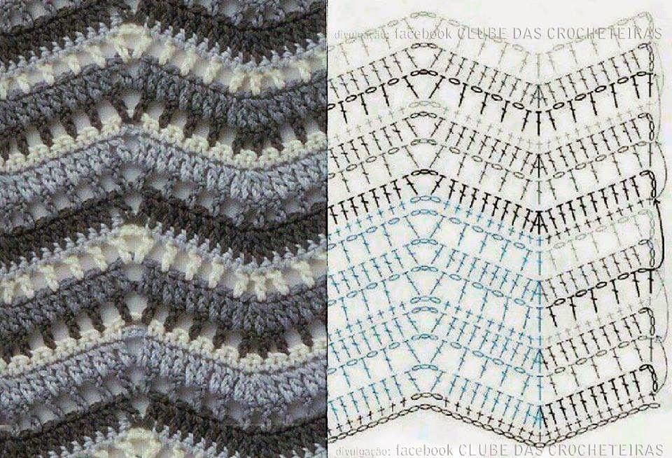 PONTO ZIG ZAG | Pinterest | Manta, Zig zag crochet y Puntadas