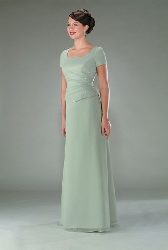 0004a8f3f2 Square short sleeves light green chiffon pleated beading floor Mother Of  The Bride Dress MBD1022067