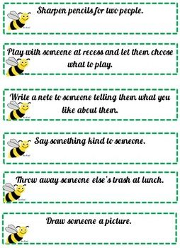 Random Acts Of Kindness Free Bee Kind Cards Challenge Unkind