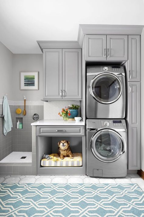Gray Laundry Room With Pet Bed And Dog Washing Station Laundry Room Layouts Laundry Room Design Dream Laundry Room