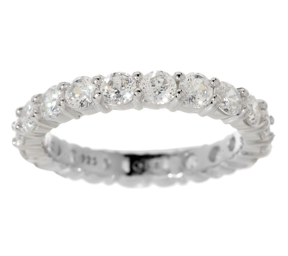 Qvc Epiphany Diamonique Sterling Silver 100 Facet 1 90 Ct Eternity Ring 6 5 225 Wedding Ring Bands Eternity Wedding Band Eternity Ring