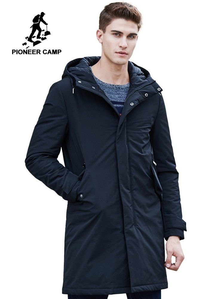 6c161efb4f3 Pioneer Camp 2018 New Arrival Autumn Winter Jacket Men Brand Clothing Cotton  Thick Long Coat Male Quality Black Outerwear
