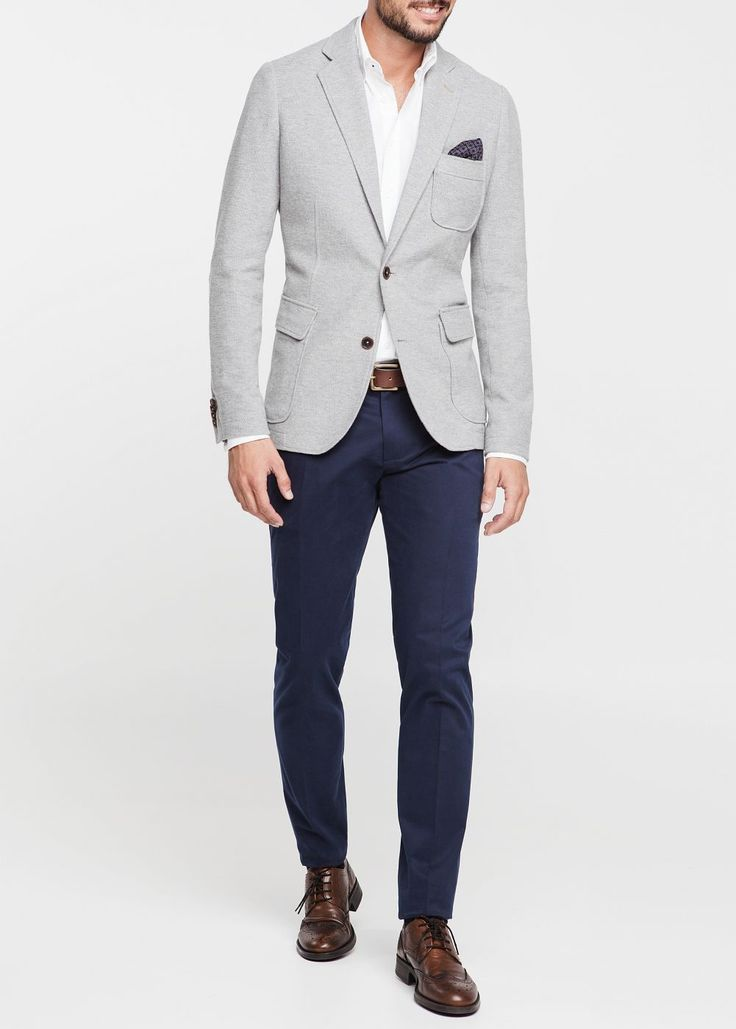 Mango Cotton Pique Blazer in Gray for Men (Light Grey ...