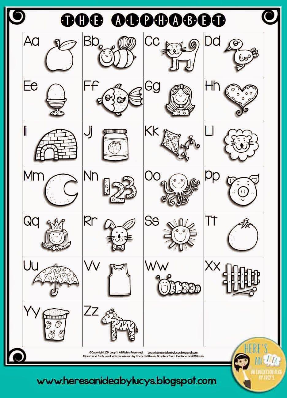 Alphabet activities FREE black line ABC anchorchart