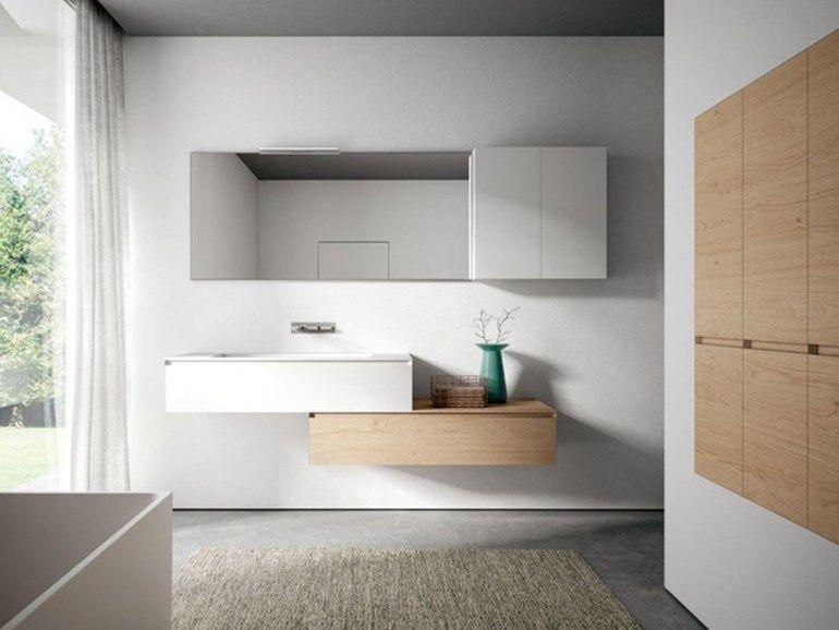 Cubik mobile bagno con specchio by ideagroup disegno bagno wooden bathroom cabinets - Comodini a specchio ...