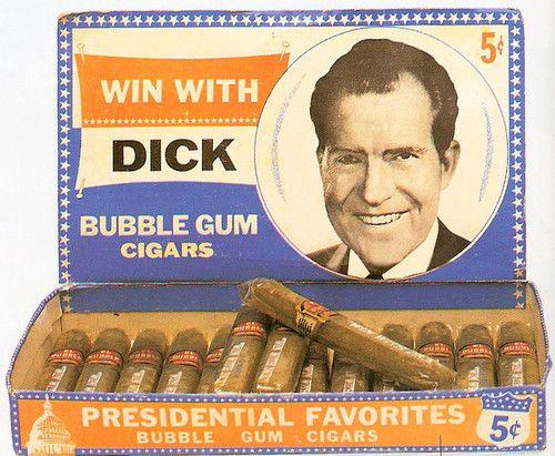 Tricky Dick (Richard Nixon) PRESIDENTIAL FAVORITES BUBBLE GUM CIGARS 1960s... ummmm, no thanks!