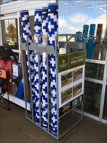 Outdoor Indoor Area Rug Display Rack Greets Fixtures Close Up Indoor Outdoor Indoor Area Rugs Area Rugs
