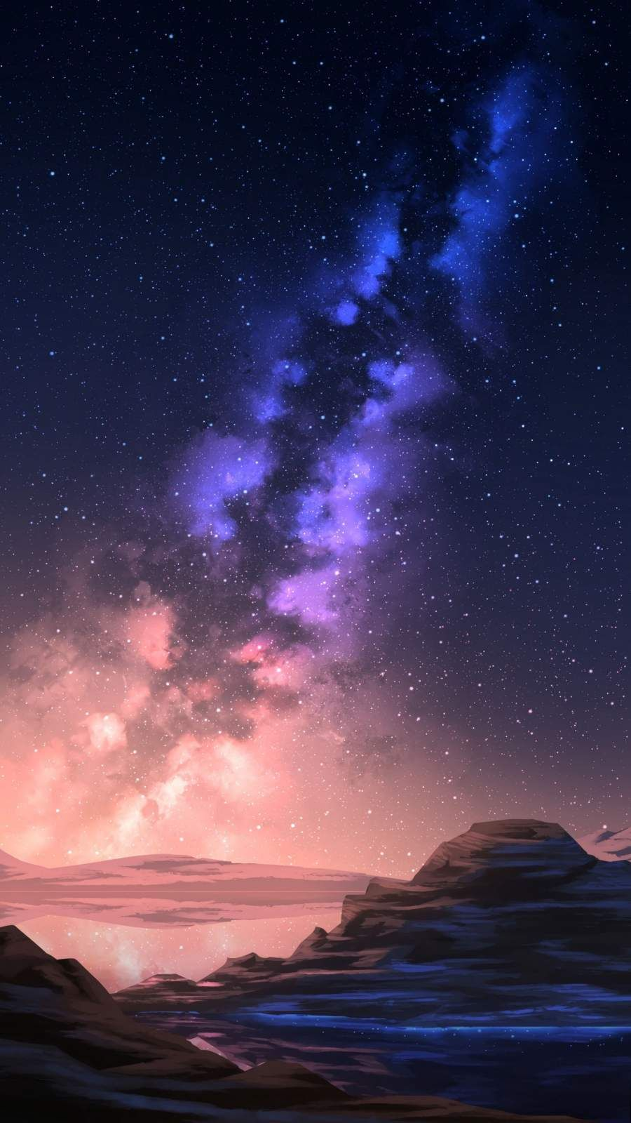 Milky Way Galaxy View in Night Scenery - iPhone Wallpapers