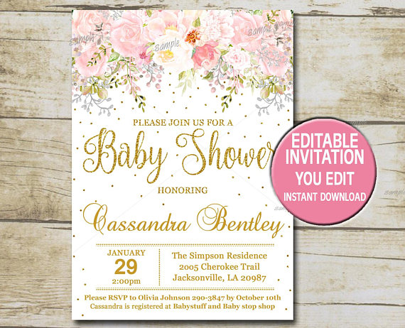 gold baby shower invitation template editable girl baby shower