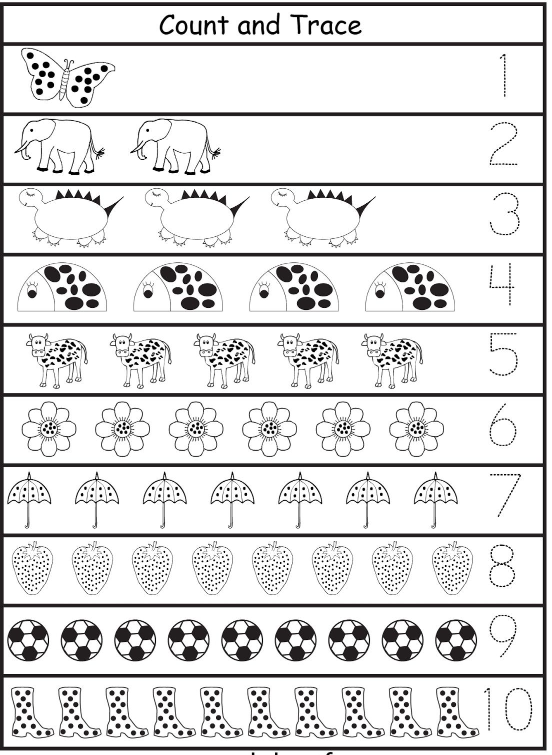 Tracing Numbers 1-10 c | Free preschool worksheets ...