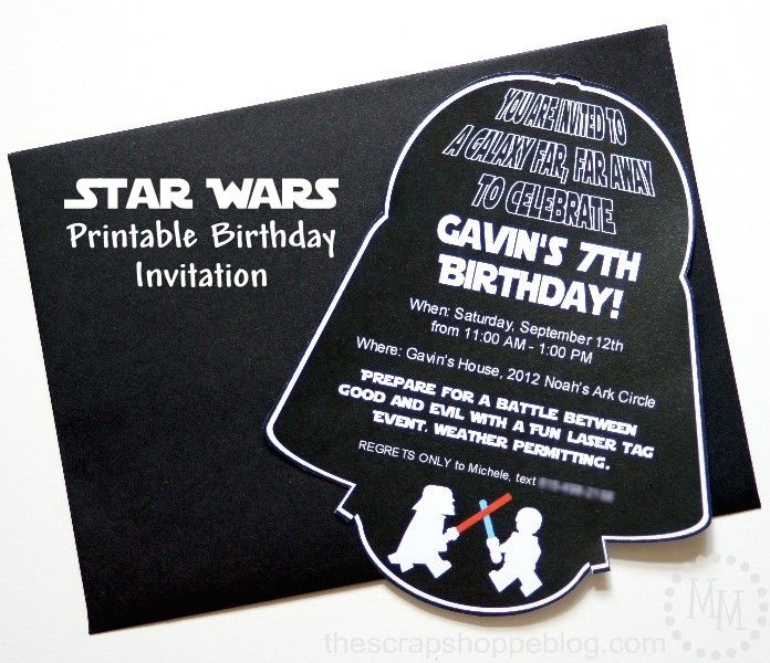 Star Wars Darth Vader PRINTABLE Birthday Invitation DIY Ideas - Star wars birthday invitation diy