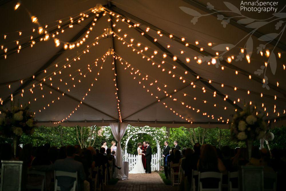 Garden Wedding Ceremony With Guests Under A Tent Incase Of Rain The Whitlock Inn Marietta Georgia