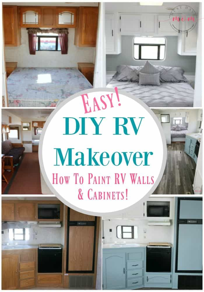 Easy RV Remodeling Instructions + RV Makeover REVEAL! is part of Remodeled campers, Camper renovation, Paint rv, Camper makeover, Rv makeover, Rv redo - Easy RV Makeover with instructions to remodel RV interior, paint RV walls, paint 2 tone kitchen cabinets! LOVE!!
