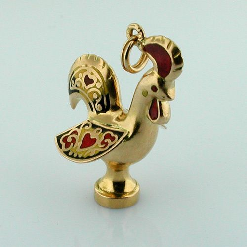 Gold Rooster Vintage Enamel 3d Charm Charms For The Easy