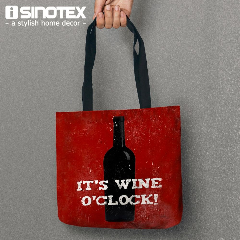 1pcs Lot Tote Bag Shopping Handbag Canvas Wine Women Storage For Food Shoulder Bag 35 38 8cm 13 8 14 9 Tote Bag Stylish Home Decor Woman Wine