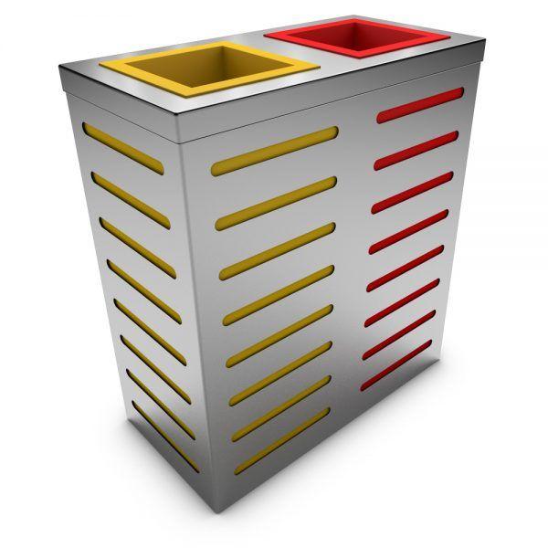 Auriga Poubelle Tri Selectif 2 Bacs Acier Inoxydable Recycling
