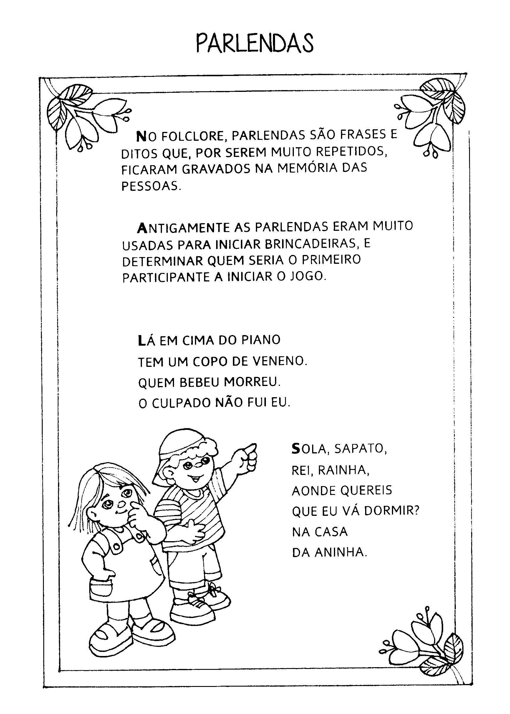 Preferência Textos, parlendas, trava-línguas e adivinhas sobre Folclore para  YG55