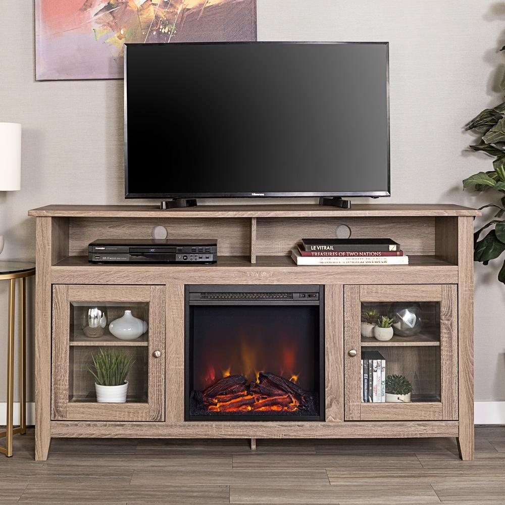 "Walker Edison Furniture Company 58"" Transitional Fireplace"