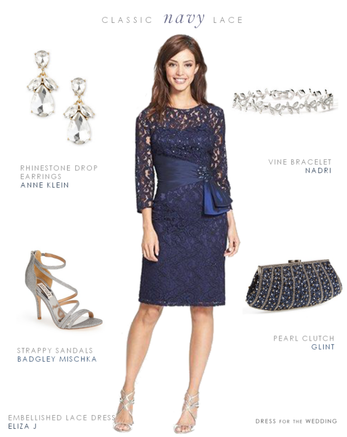 Classic Mother Of The Bride Look   Navy Blue Lace Cocktail Dress