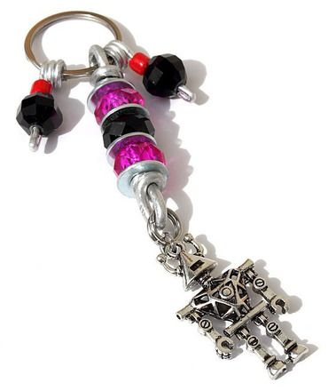 Porte-clefs avec rondelles de verre et perles de couleur et - couleur des fils electrique