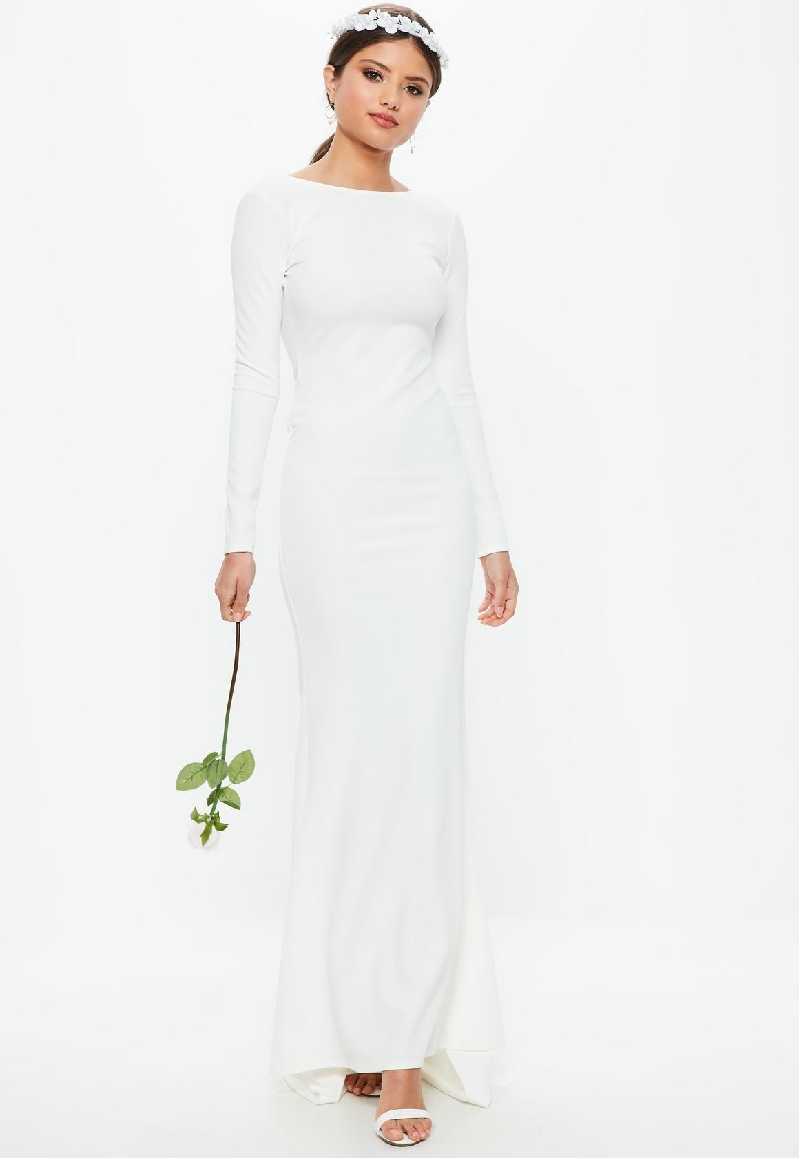Mature bride wedding dresses  Missguided  Bridal White Long Sleeve Open Back Fishtail Dress