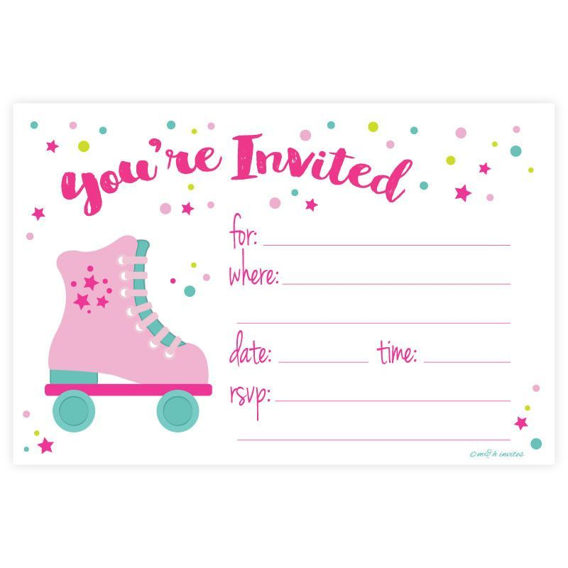 Roller Skate Theme - Girl Birthday Party Invitations by madison ...