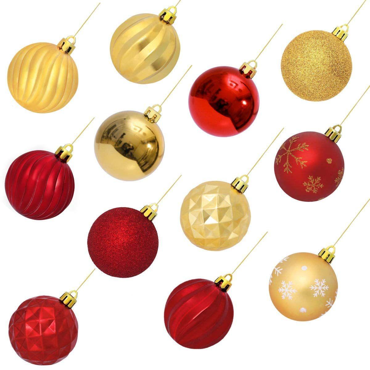 Amazon Com Unomor 24pcs Christmas Ball Ornaments Christmas Decoration Tree Balls For Holi Christmas Decorations Tree Holiday Party Decorations Ball Ornaments