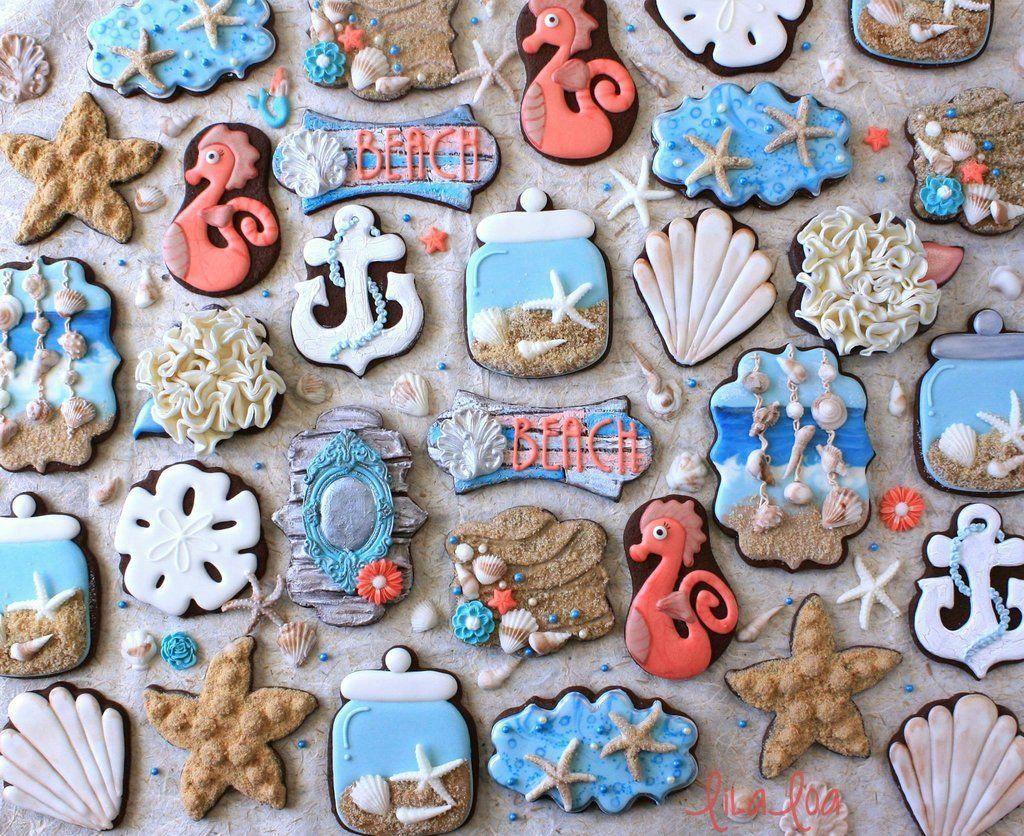 Beach themed seashell seahorse decorated sugar cookies