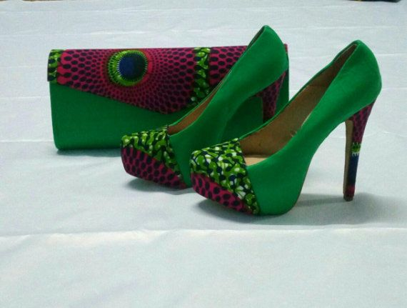 dc57117b8427f Purple and Green Round Pattern African Print Shoe With Clutch ...