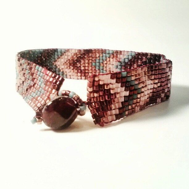 Chevron Loom Beadwork Bracelet Seedbead Bracelet Copper Teal Garnet Neutral. $200.00, via Etsy.