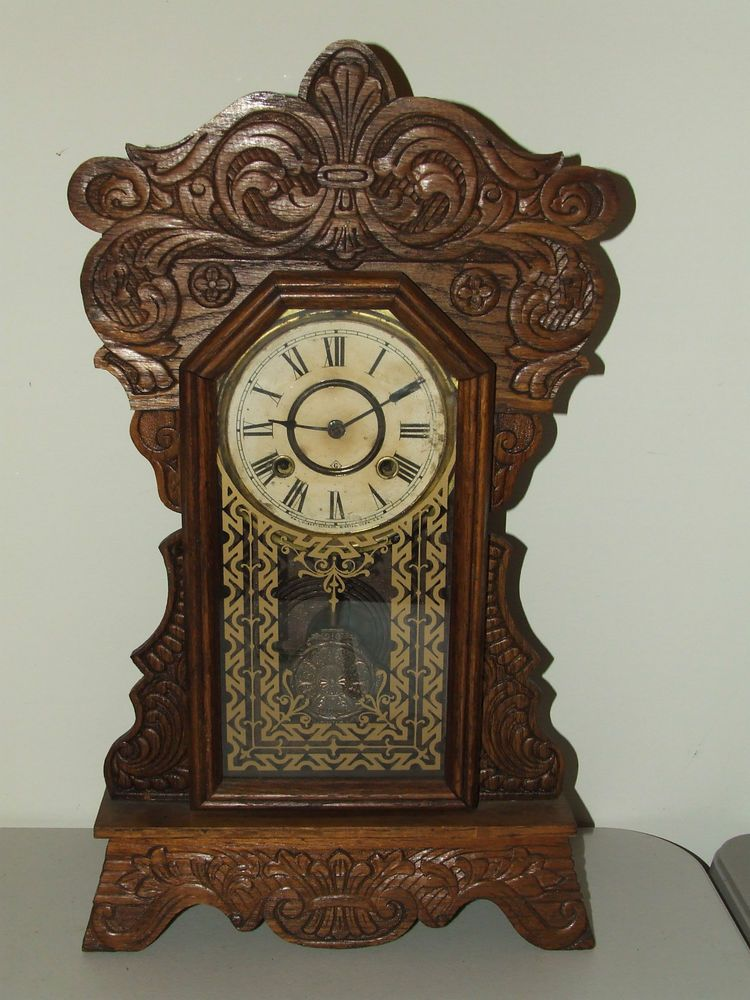 Wooden Kitchen Clock Frigidaire Package Antique Working 19th C Gilbert Oak Parlor Mantel Gingerbread Victorianartdecoamericana