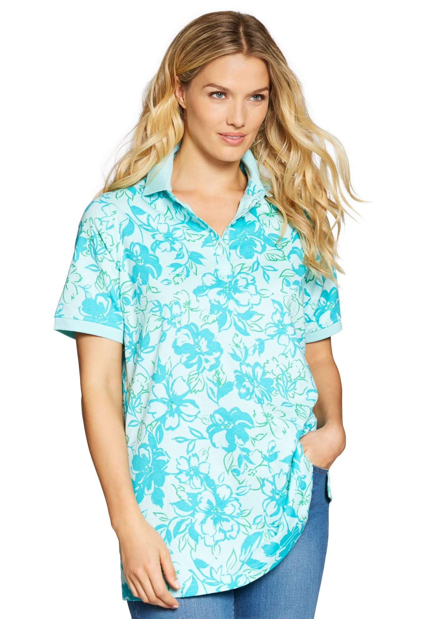 891f7ea3798 Perfect floral print polo T-shirt with short sleeves - Women s Plus Size  Clothing