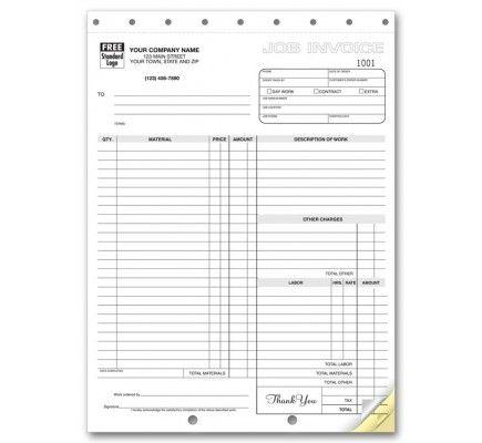Carbonless Job Invoices Free Shipping Job Job Work Make Invoice