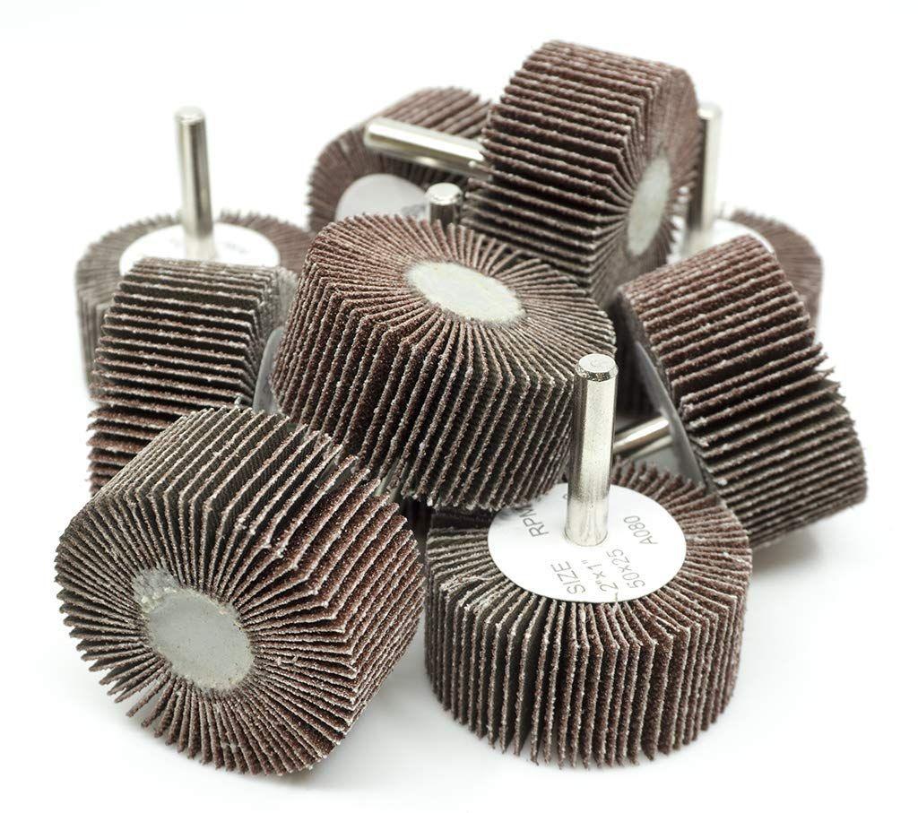 "10 Pack A//O 40 Grit Sanding Wheel 2/"" x 1/"" x 1//4/"" Shank Mounted Flap Wheels"