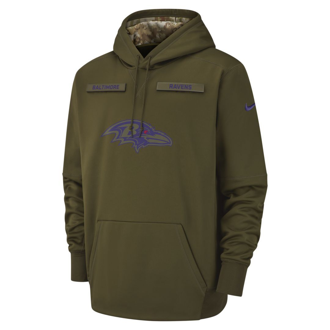 Nike Therma Salute to Service (NFL Ravens) Big Kids  Hoodie Size S (Olive) 3996262f0