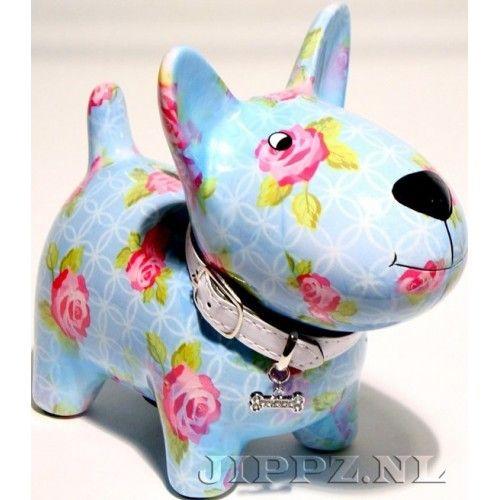 Spaarpot hond blauw rozen
