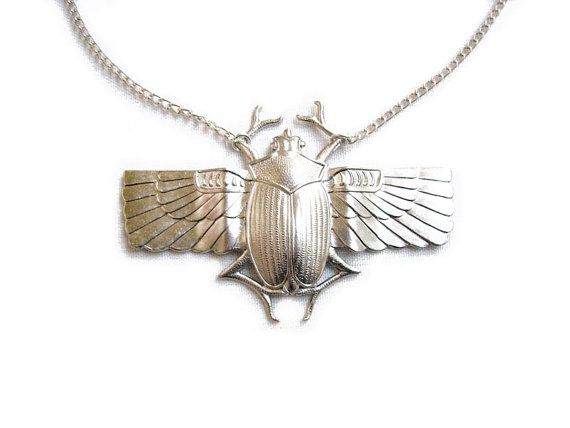 Egyptian Scarab Necklace Silver Scarab Beetle by AlinaandT