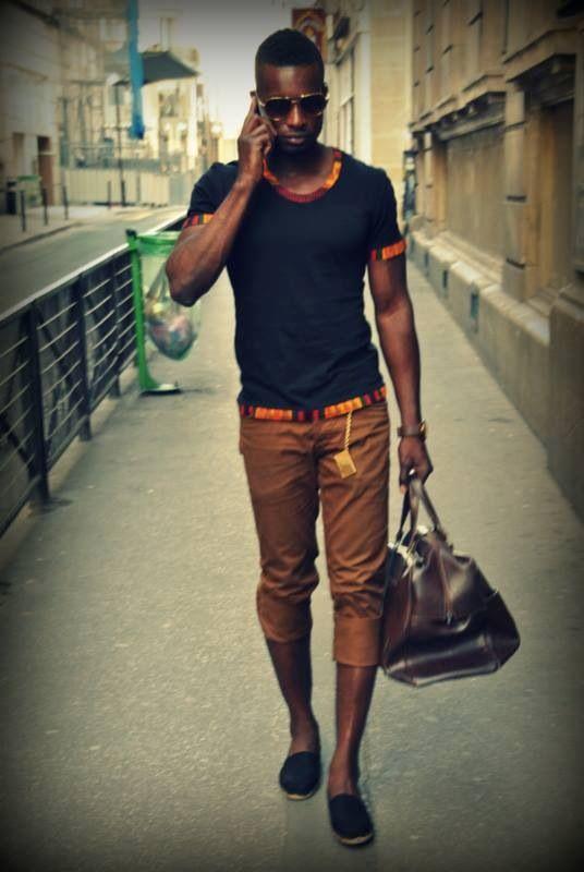 T,shirt détails Pagne pour homme, tissu wax