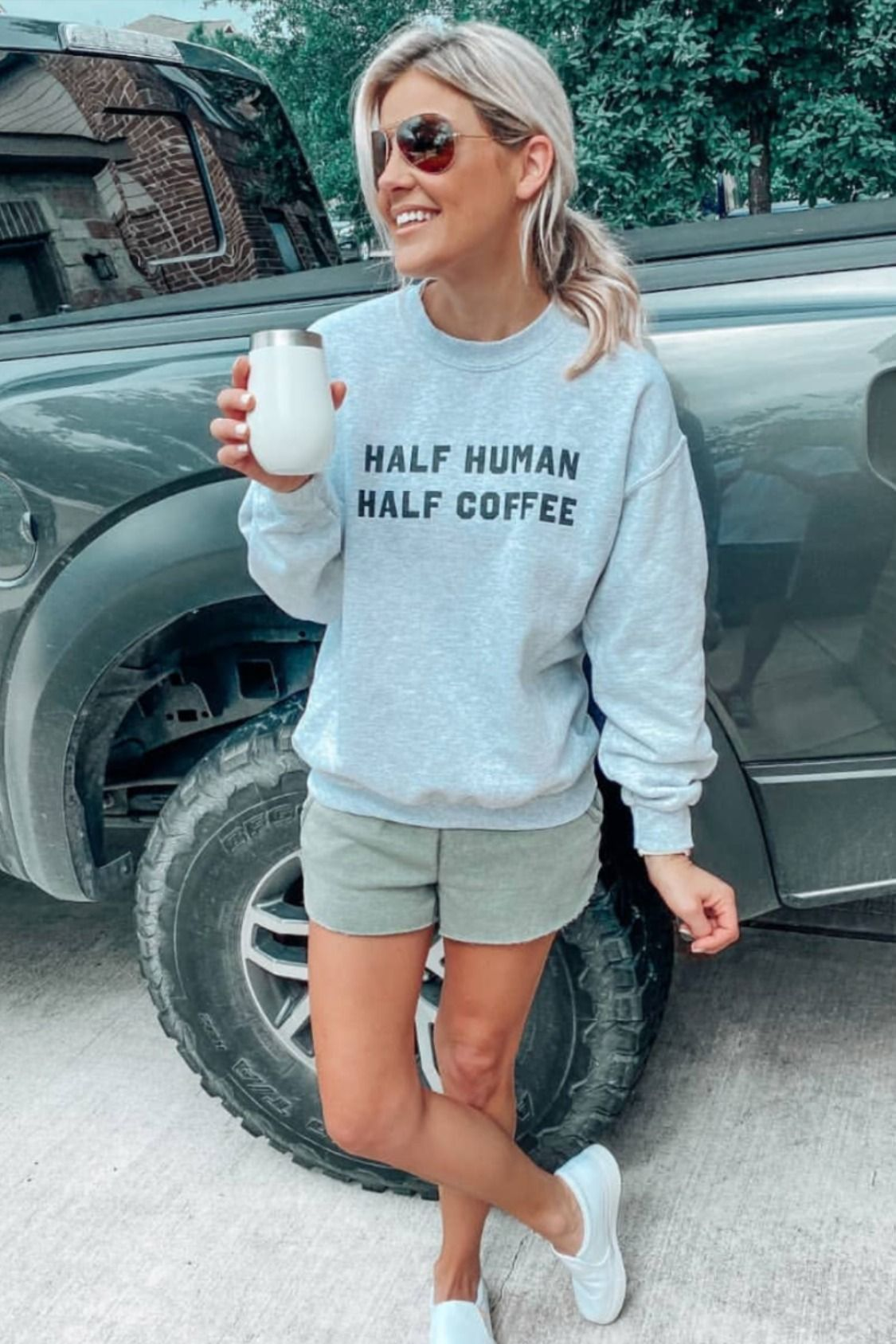 Half Human Half Coffee Ash Graphic Sweatshirt