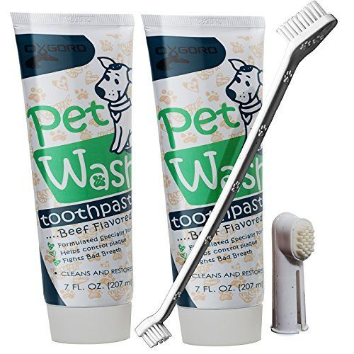 OxGord 14 oz. Pet Dog Toothpaste Dental Care Kit with Dual Toothbrush for Oral Hygiene-Fights Plaque Freshens Breath- Cleans and Restores-2 pack - Beef Flavor by OxGord, http://www.amazon.com/dp/B01LZT3MOJ/ref=cm_sw_r_pi_dp_x_rHhszbP5SPC40