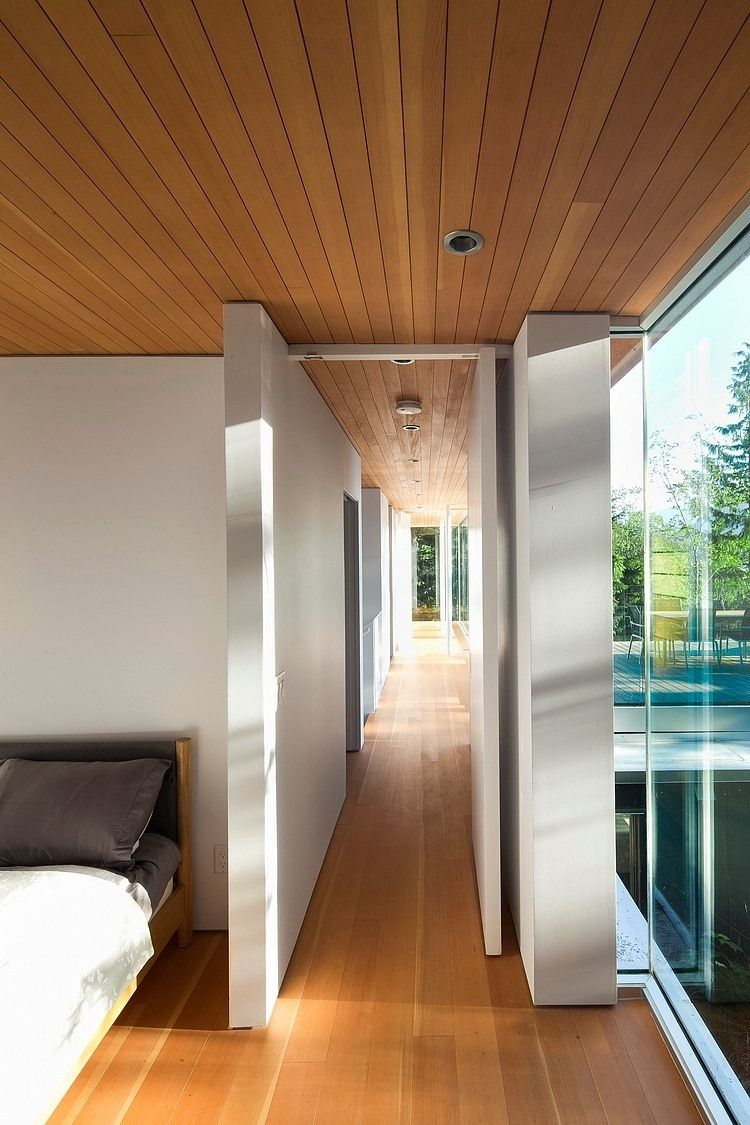 Master bedroom hallway  Gambier Island House by Mcfarlane Green Biggar  Interiors