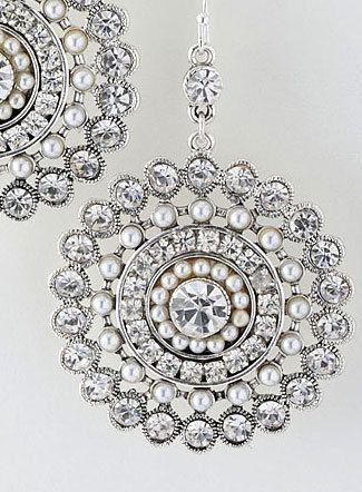 Wedding Earrings Pearls Crystals Rhinestones Silver Circle Bling Bride Bridesmaid Sparkle. $36.00, via Etsy.
