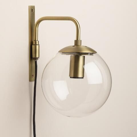 Glass Globe Wall Sconce Wall Sconces Bedroom Bathroom Wall Sconces Brass Wall Sconce