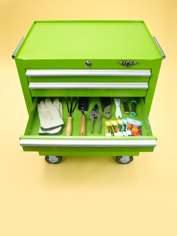 """""""I keep my gardening supplies in a rolling metal tool chest so I can easily push it from the garage to the yard."""" — Vern Yip, HGTV Design Star"""