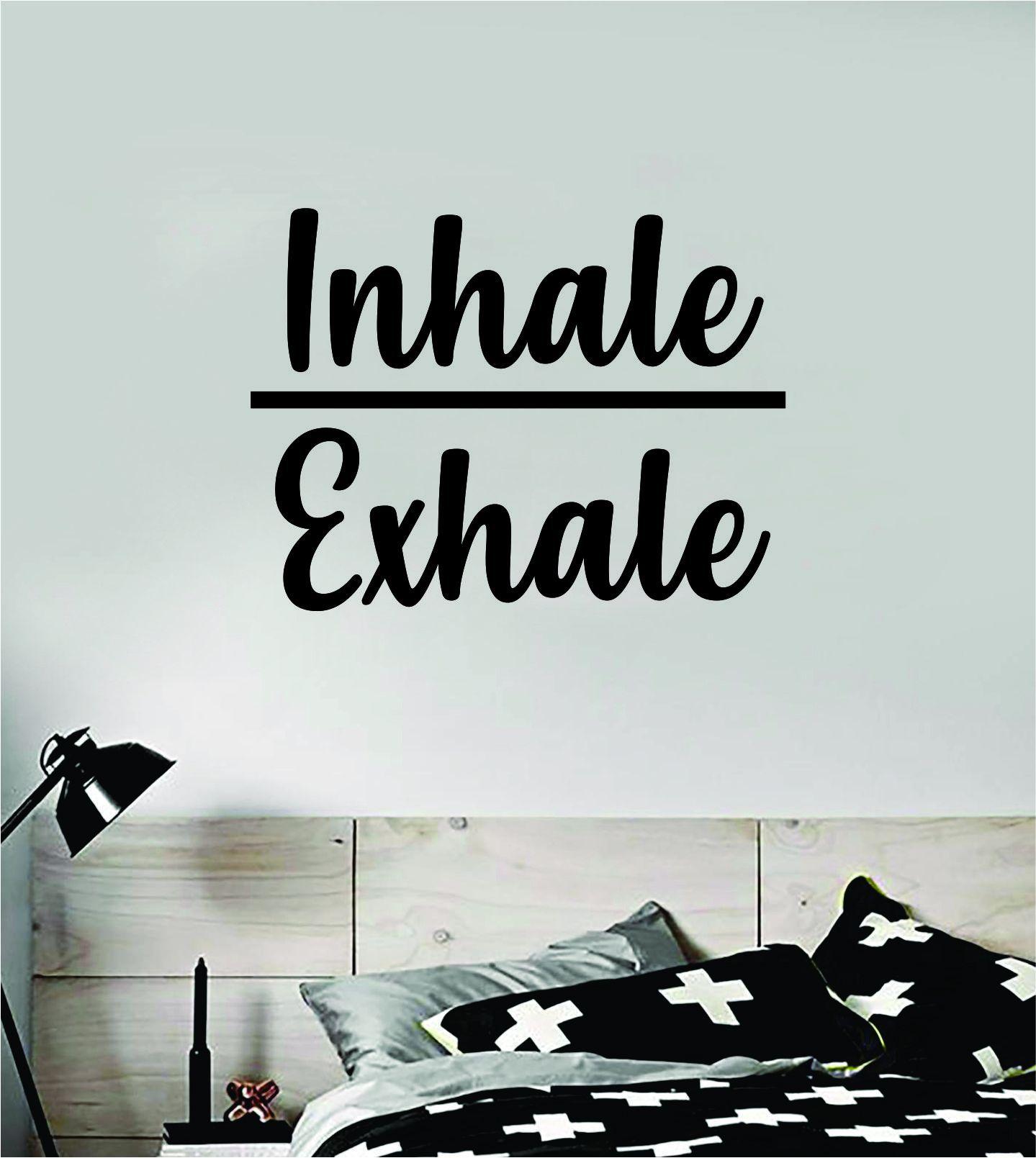 Inhale Exhale v2 Quote Decal Sticker Wall Vinyl Art Decor Room Teen Kids Namaste Yoga Om Meditate Zen Buddha Relax Breathe - brown