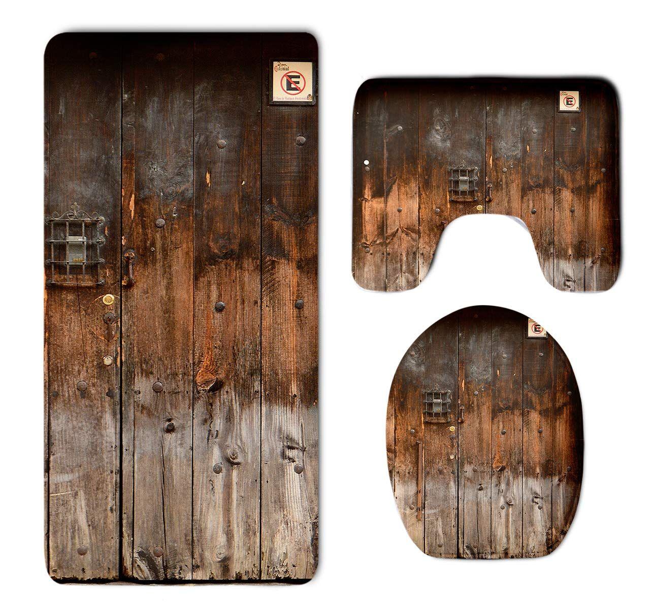 Homestores 3 Piece Bathroom Rug Set Rustic Country Wood Style Rustic Country Barn Wood Door Set Skidproof Toilet Bath Rug Bathroom Rug Sets Door Sets Bath Rug