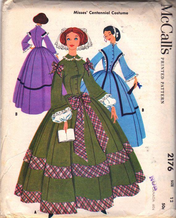 McCalls 2176 1950s Misses Centennial Costume Pattern Full Length ...