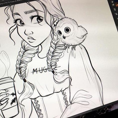 Ich liebe es. Das Harry-Potter-Thema, ihre Zöpfe, ihre Eule und ihre Kaffeetasse ... - Healthy Skin Care #disneycups